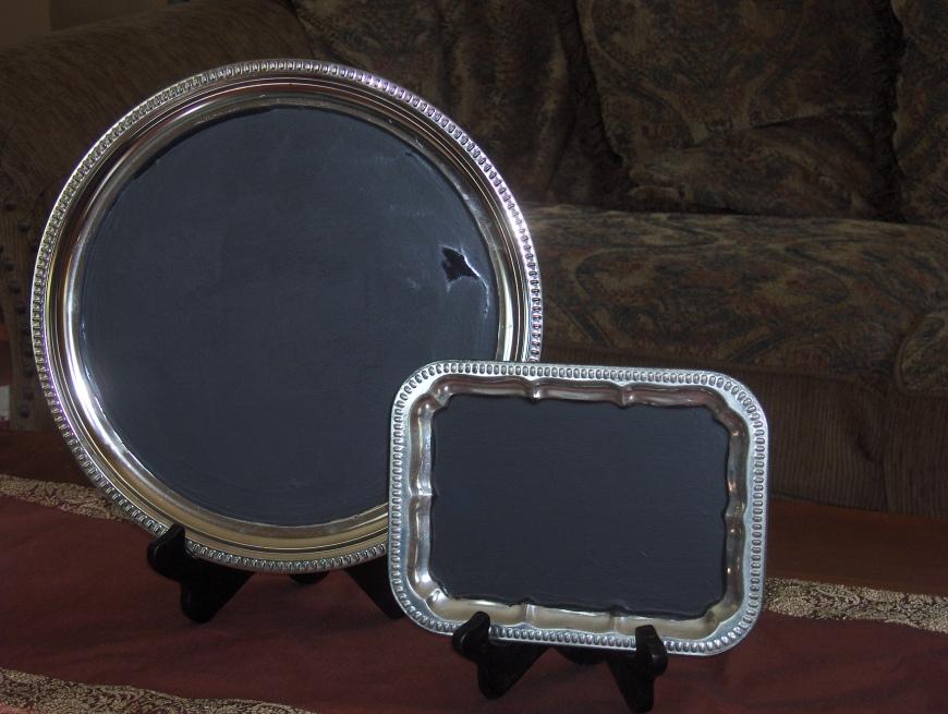 Chalkboard Silver Platters